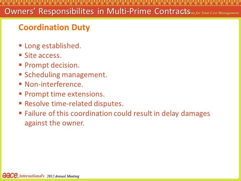 Owners' Responsibilites in Multi-Prime Contracts