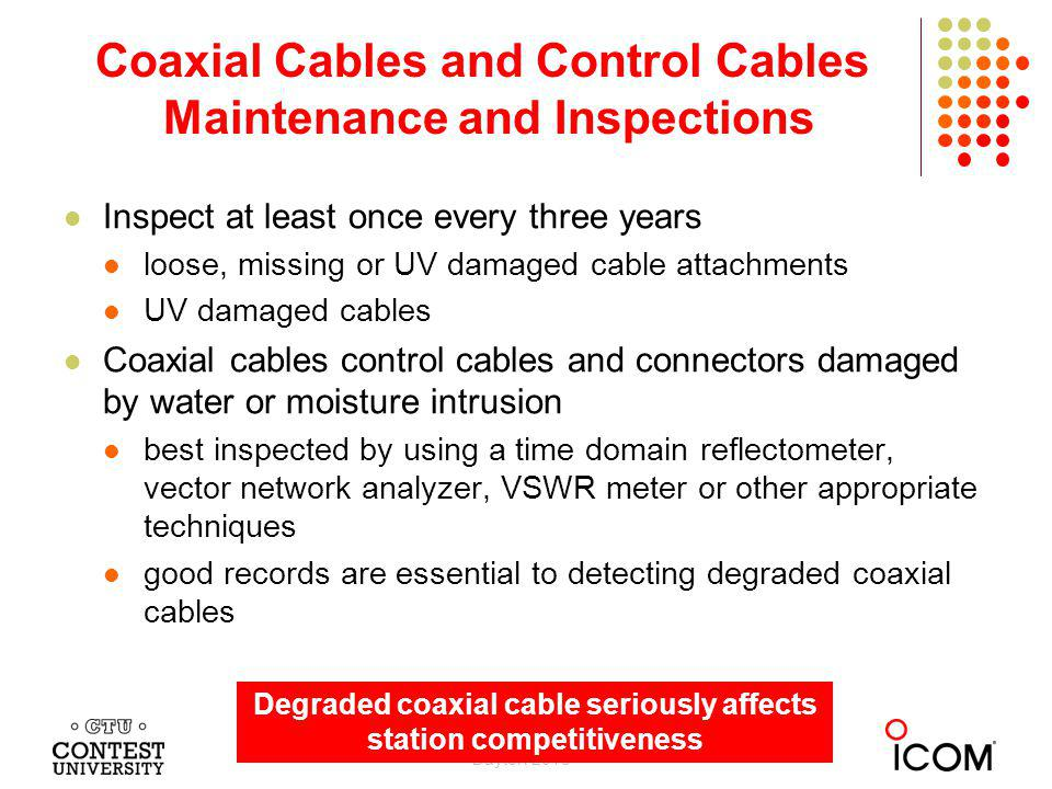 Coaxial Cables and Control Cables Maintenance and Inspections