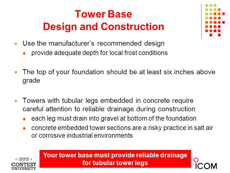 Tower Base Design and Construction