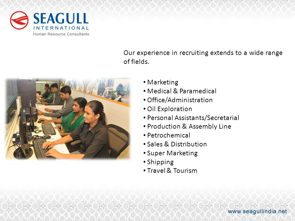 Our experience in recruiting extends to a wide range of fields.