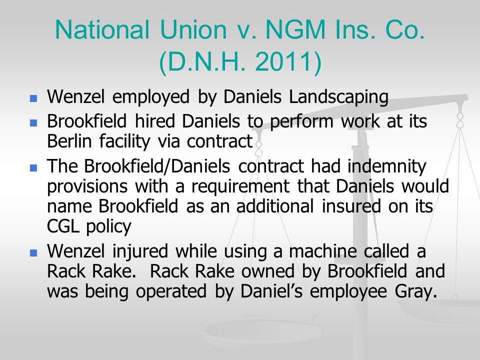 National Union v. NGM Ins. Co. (D.N.H. 2011)