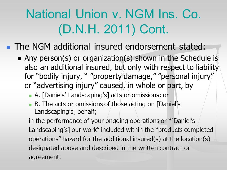 National Union v. NGM Ins. Co. (D.N.H. 2011) Cont.