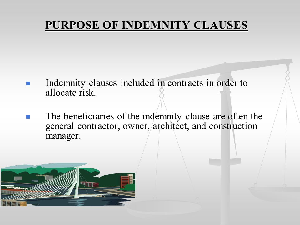 PURPOSE OF INDEMNITY CLAUSES
