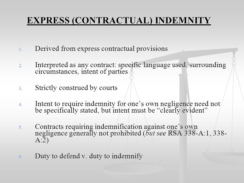 EXPRESS (CONTRACTUAL) INDEMNITY