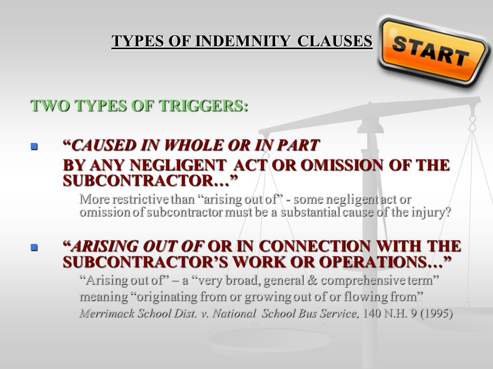 TYPES OF INDEMNITY CLAUSES