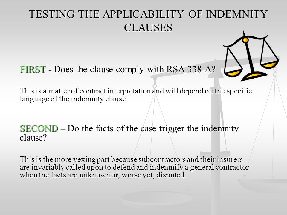 TESTING THE APPLICABILITY OF INDEMNITY CLAUSES