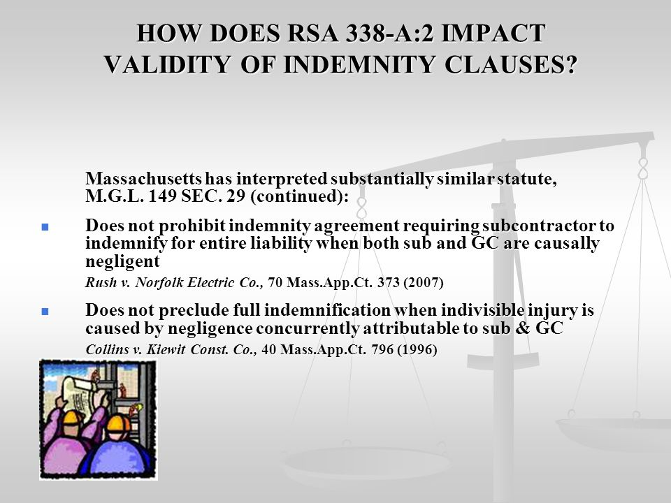HOW DOES RSA 338-A:2 IMPACT VALIDITY OF INDEMNITY CLAUSES