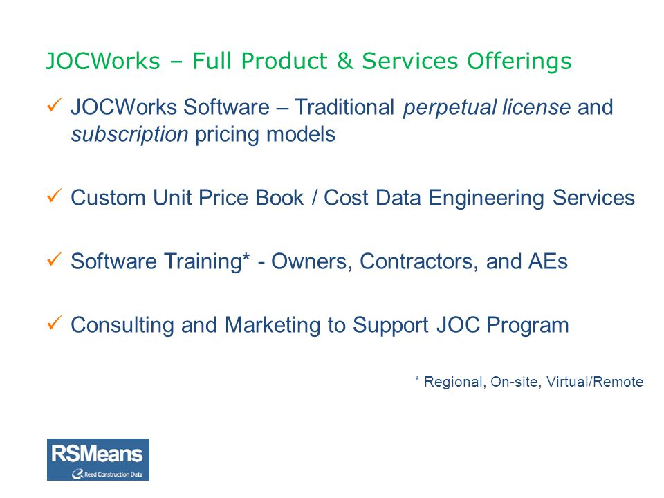 JOCWorks – Full Product & Services Offerings