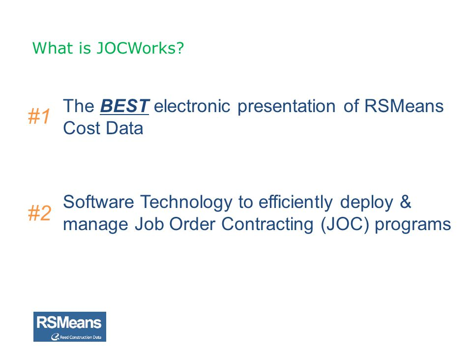 #1 #2 The BEST electronic presentation of RSMeans Cost Data