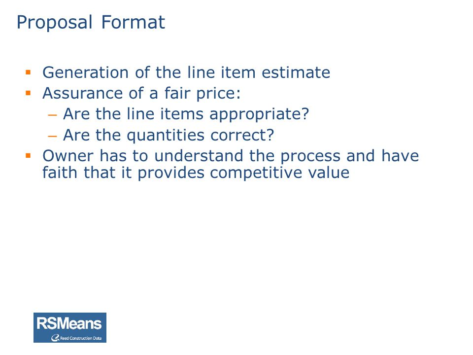 Proposal Format Generation of the line item estimate