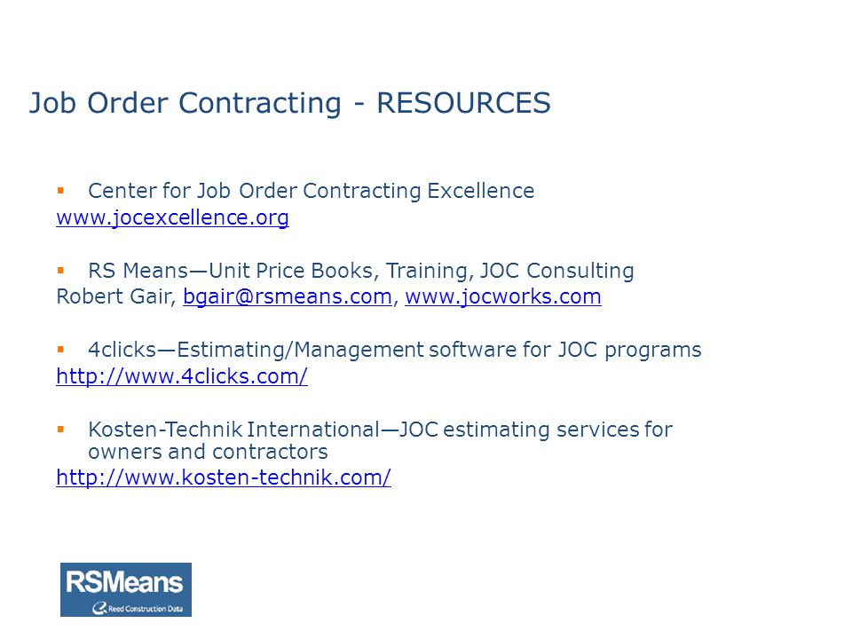 Job Order Contracting - RESOURCES