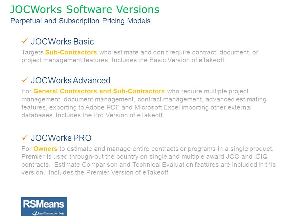 JOCWorks Software Versions