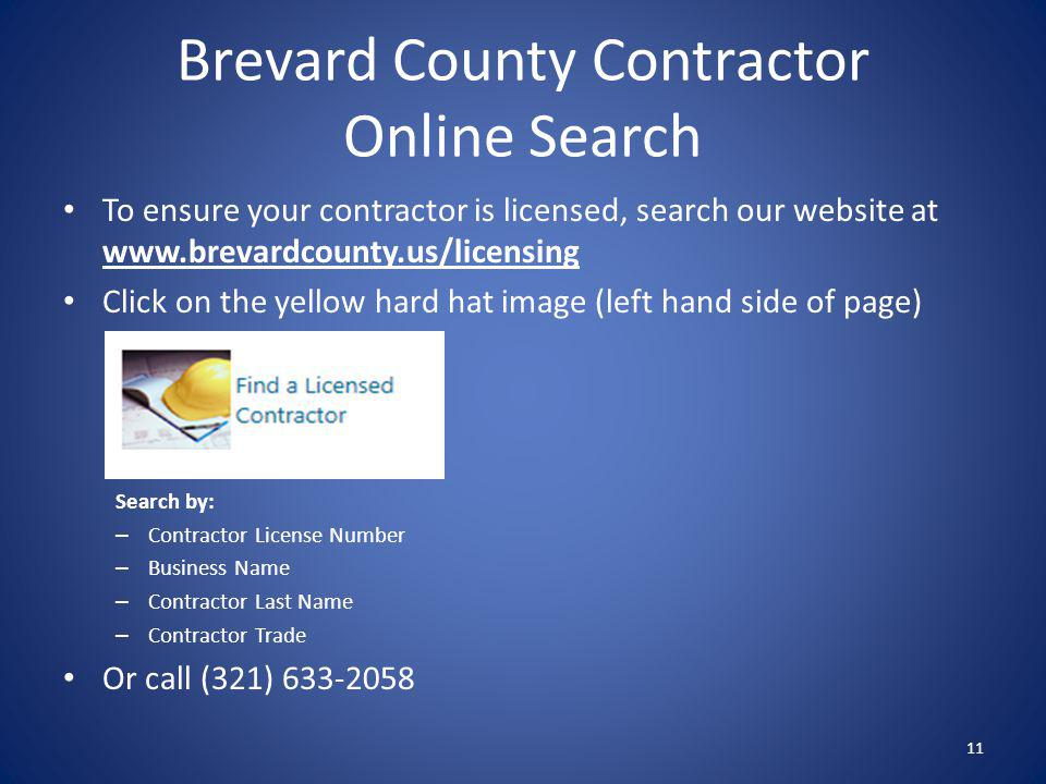 Brevard County Contractor Online Search