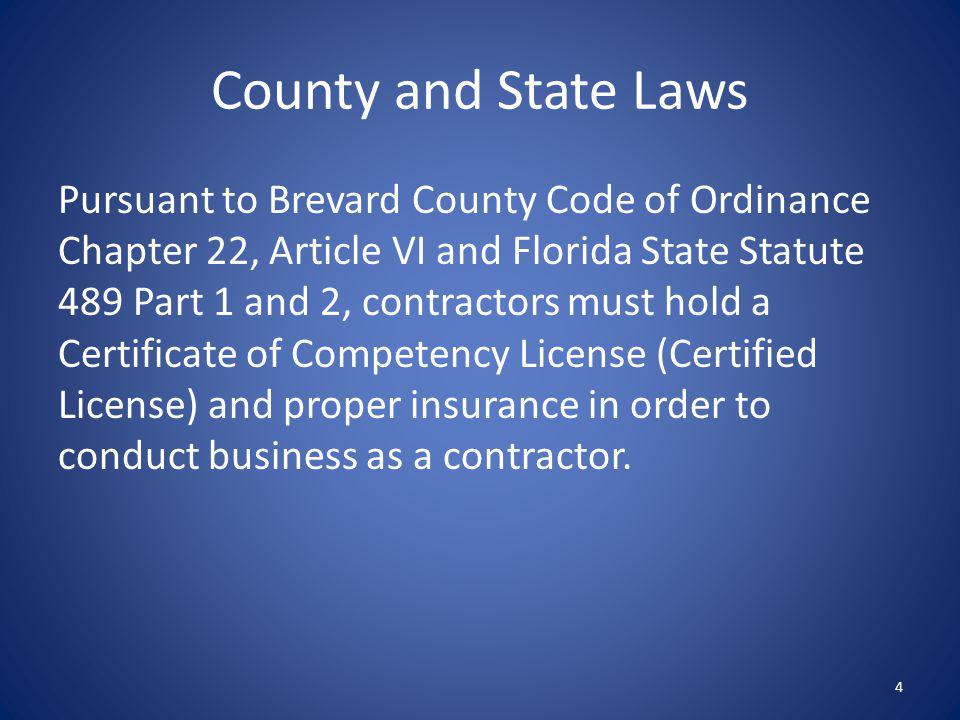 County and State Laws