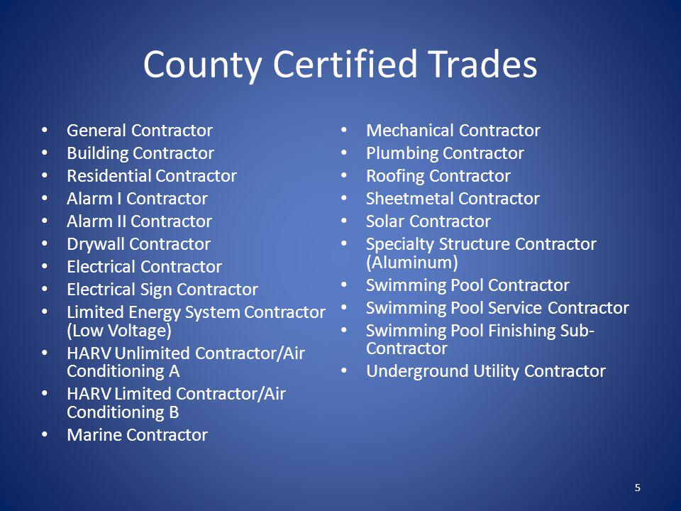 County Certified Trades