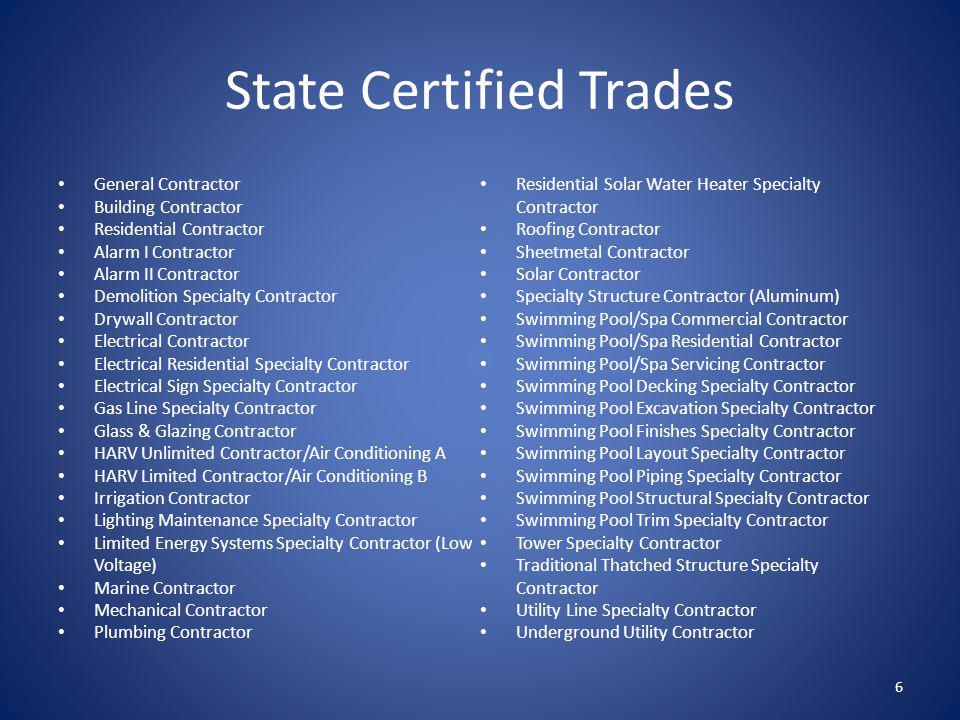 State Certified Trades