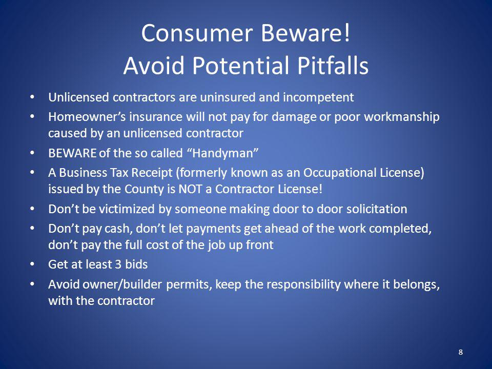 Consumer Beware! Avoid Potential Pitfalls