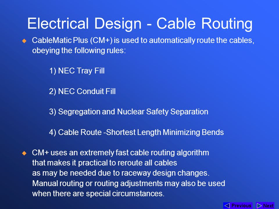 Electrical Design - Cable Routing