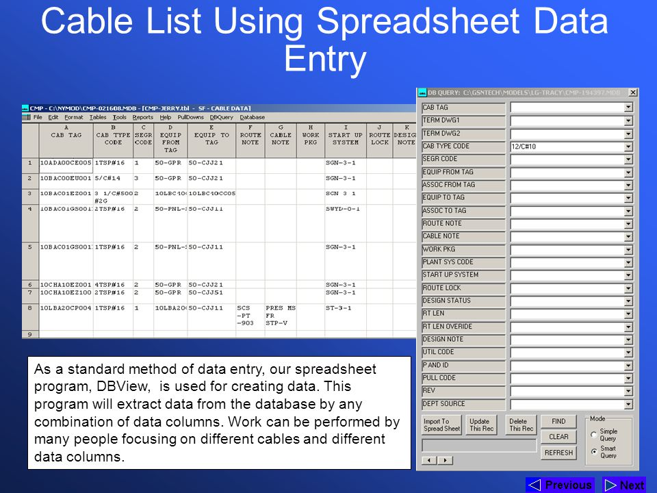 Cable List Using Spreadsheet Data Entry
