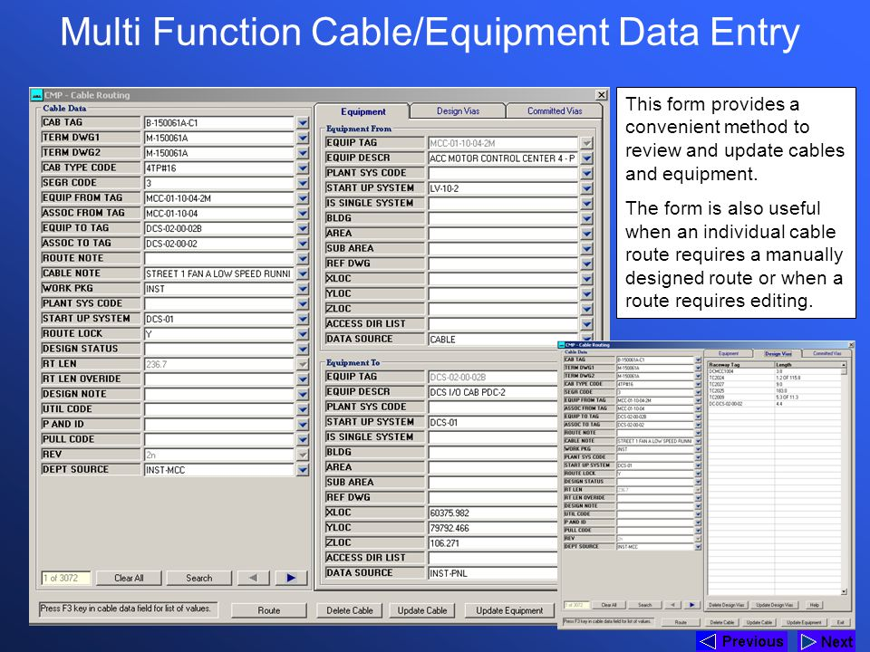 Multi Function Cable/Equipment Data Entry