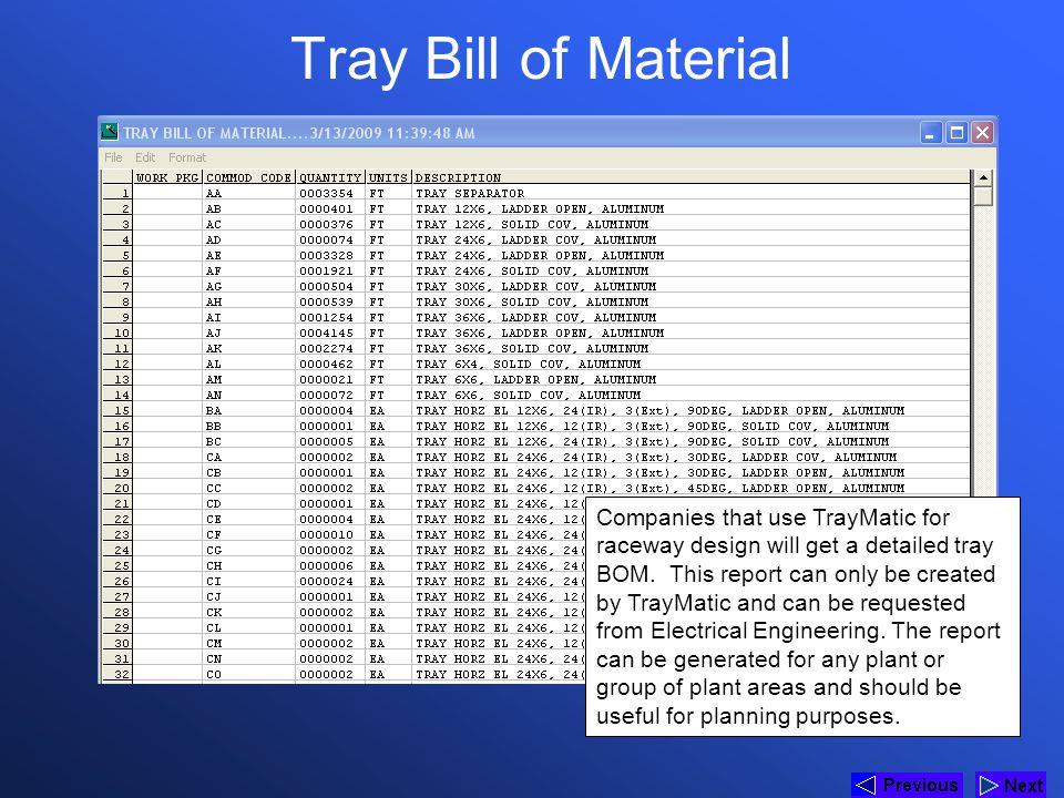 * Tray Bill of Material. 07/16/96.