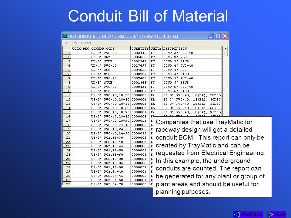 Conduit Bill of Material