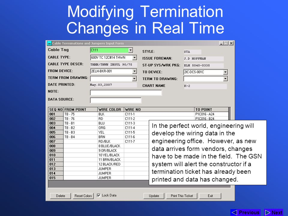 Modifying Termination Changes in Real Time