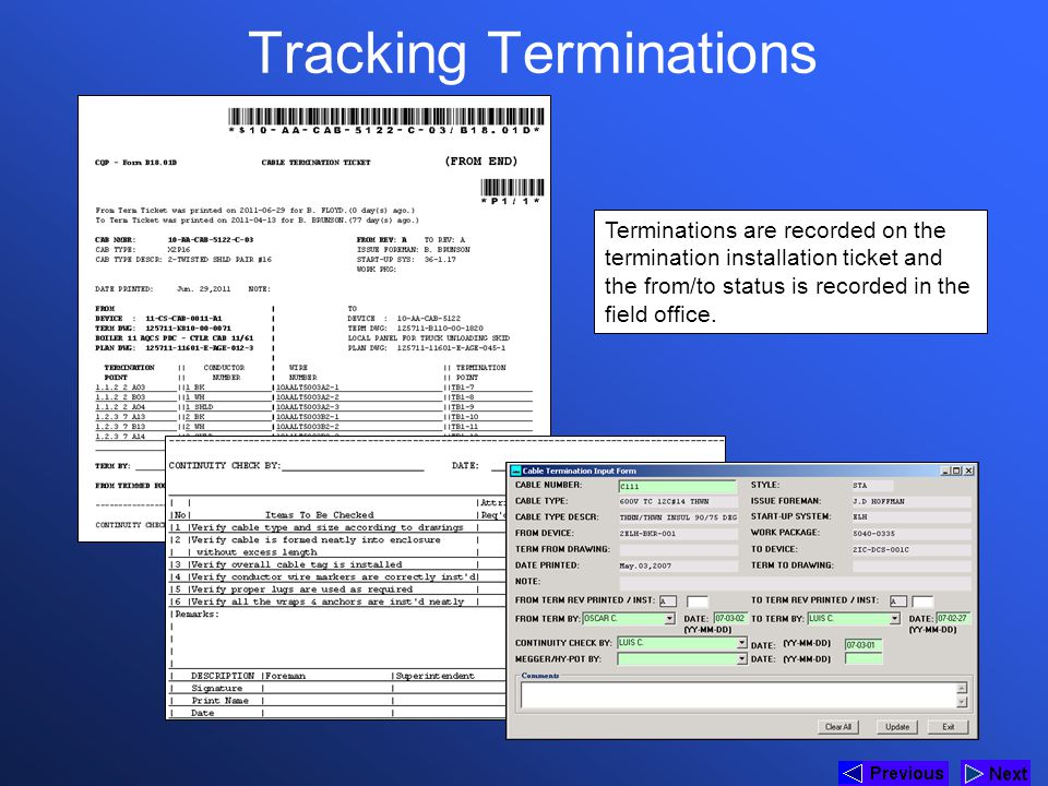 Tracking Terminations