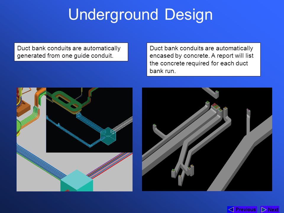 * Underground Design. 07/16/96. Duct bank conduits are automatically generated from one guide conduit.