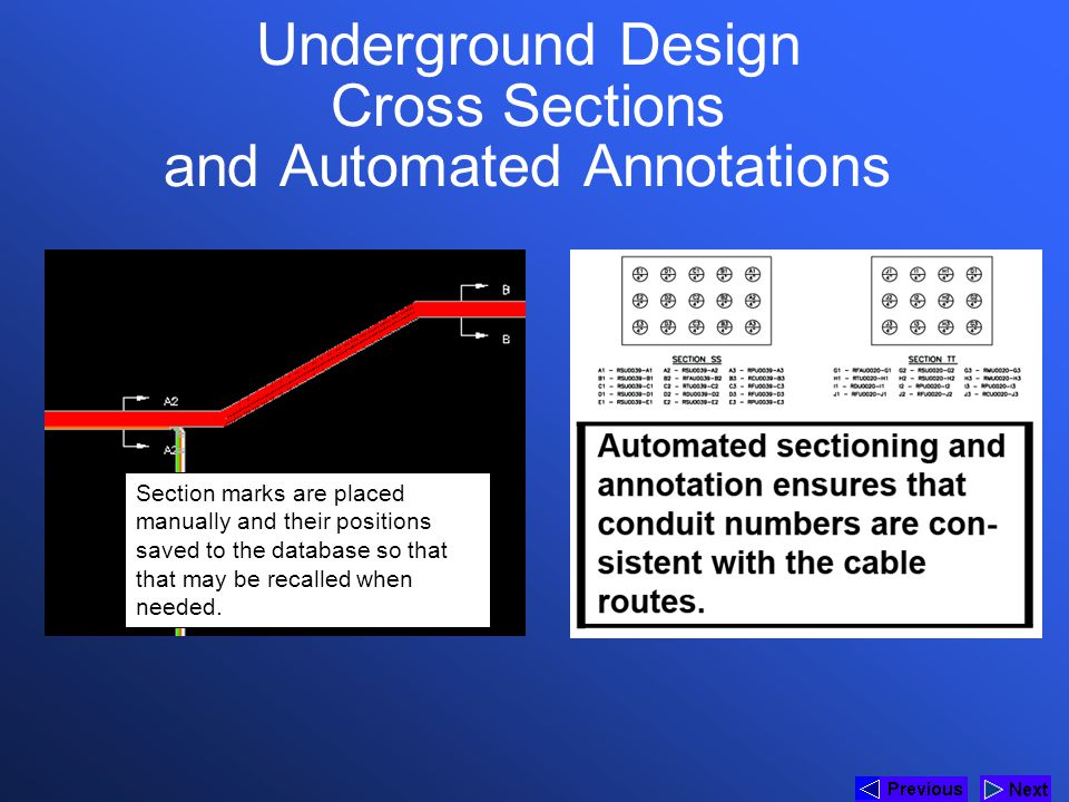 Underground Design Cross Sections and Automated Annotations