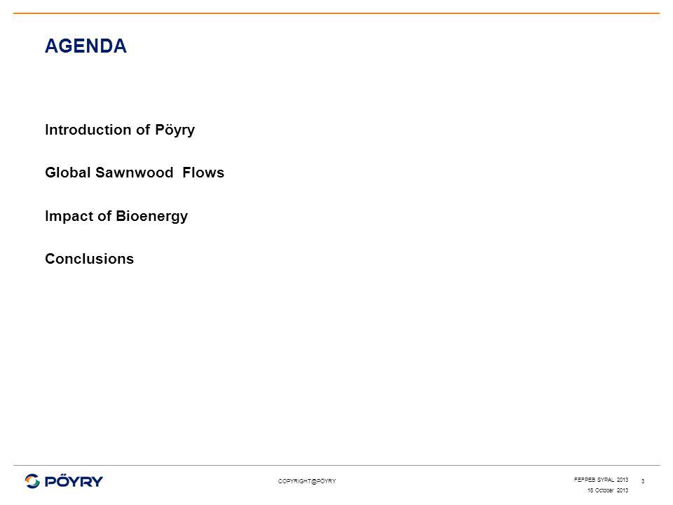 AGENDA Introduction of Pöyry Global Sawnwood Flows Impact of Bioenergy