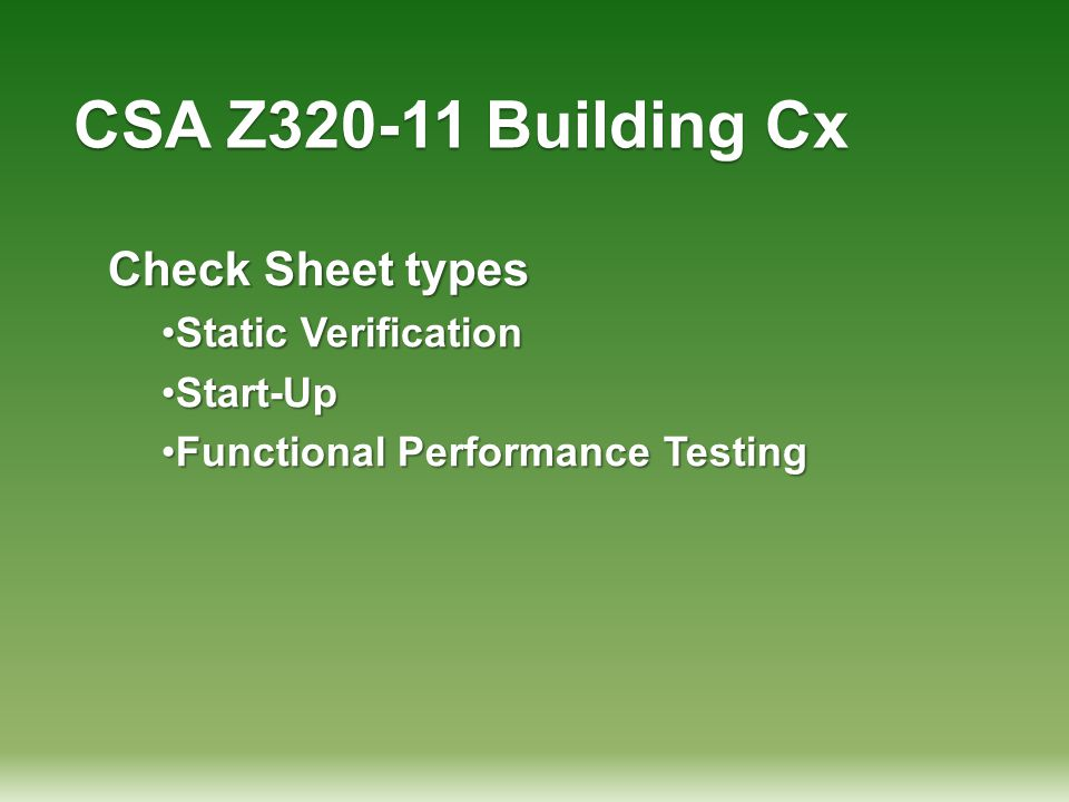 CSA Z320-11 Building Cx Check Sheet types Static Verification Start-Up