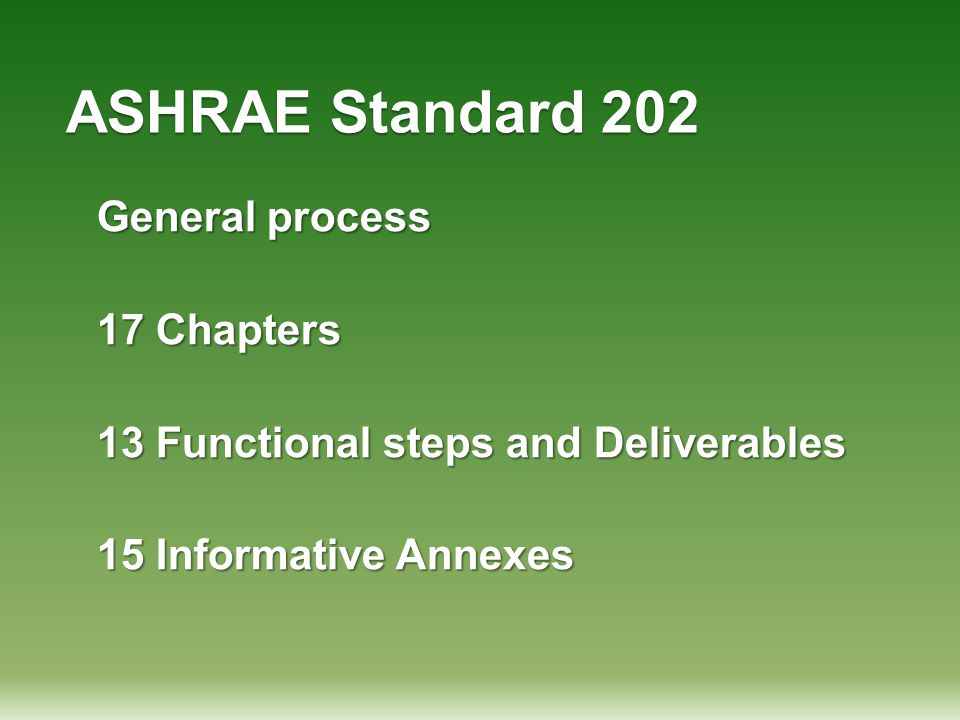ASHRAE Standard 202 General process 17 Chapters