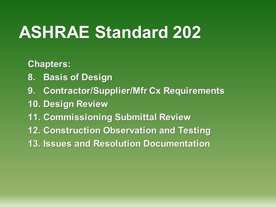 ASHRAE Standard 202 Chapters: Basis of Design