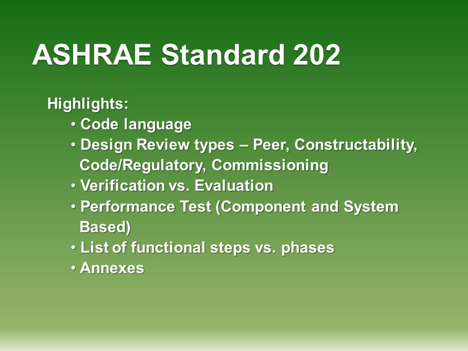ASHRAE Standard 202 Highlights: Code language
