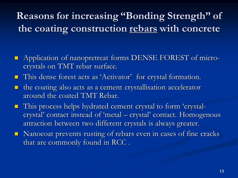 Reasons for increasing Bonding Strength of the coating construction rebars with concrete