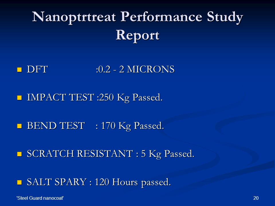 Nanoptrtreat Performance Study Report