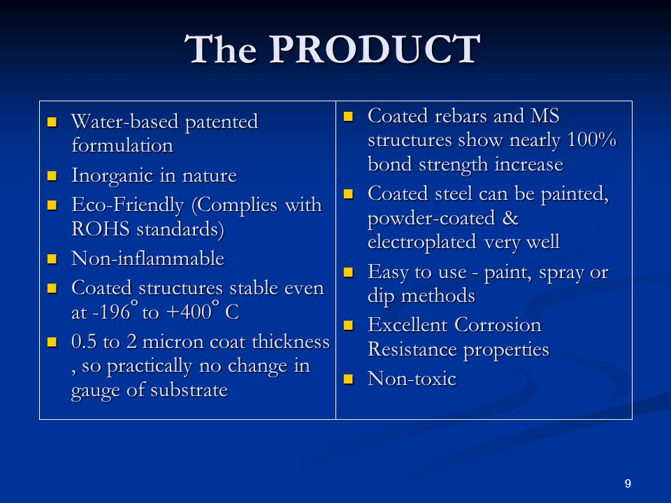 The PRODUCT Coated rebars and MS structures show nearly 100% bond strength increase.