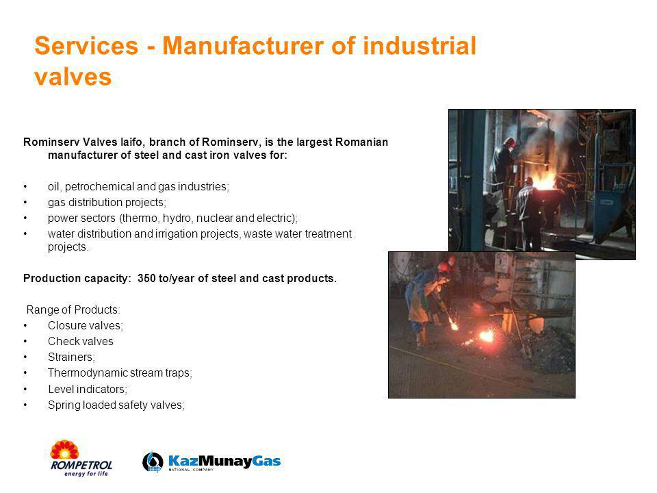Services - Manufacturer of industrial valves