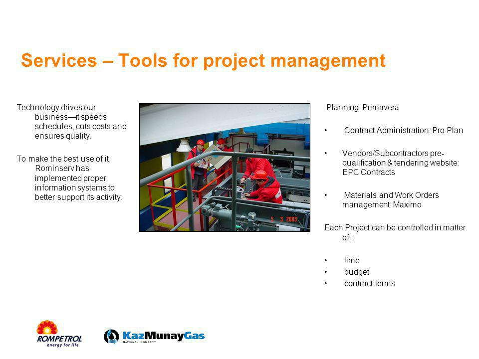 Services – Tools for project management