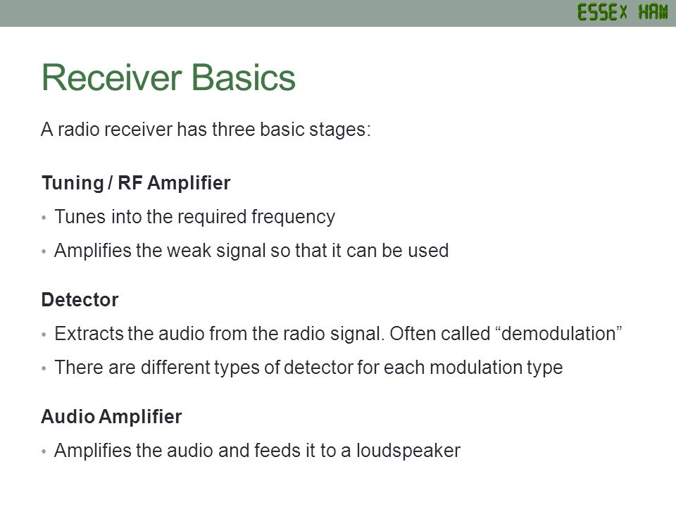 Receiver Basics A radio receiver has three basic stages: