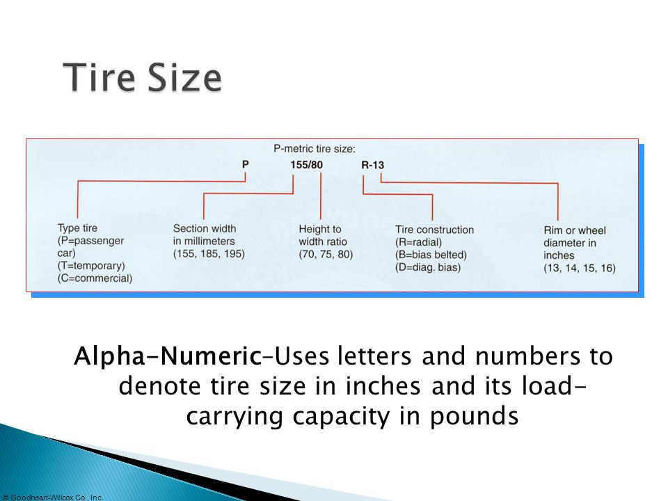 Tire Size Alpha-Numeric–Uses letters and numbers to denote tire size in inches and its load- carrying capacity in pounds.
