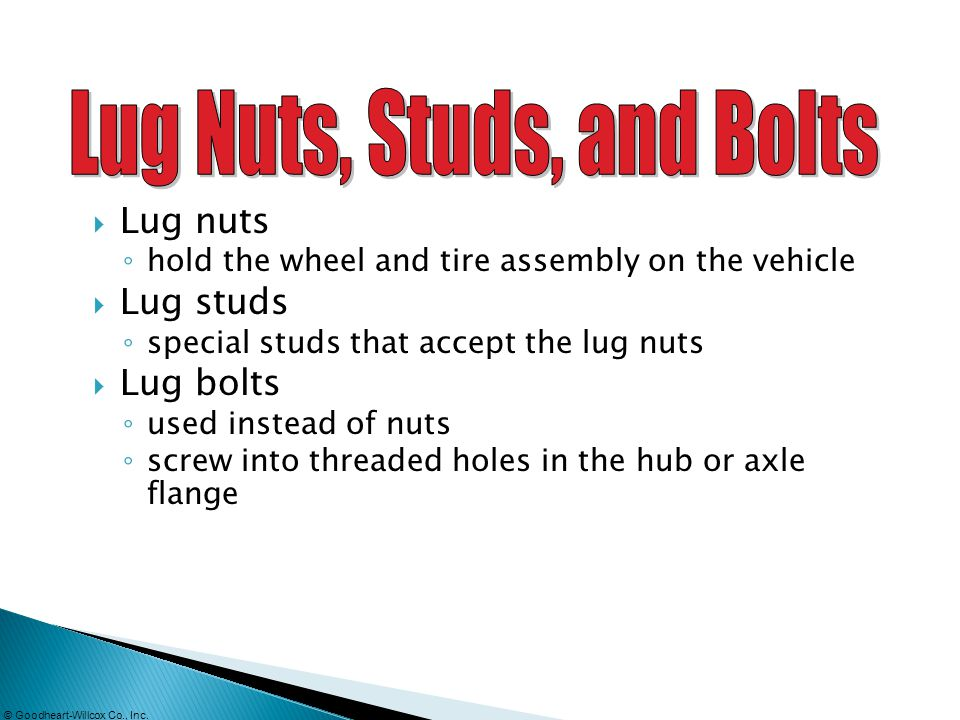 Lug Nuts, Studs, and Bolts