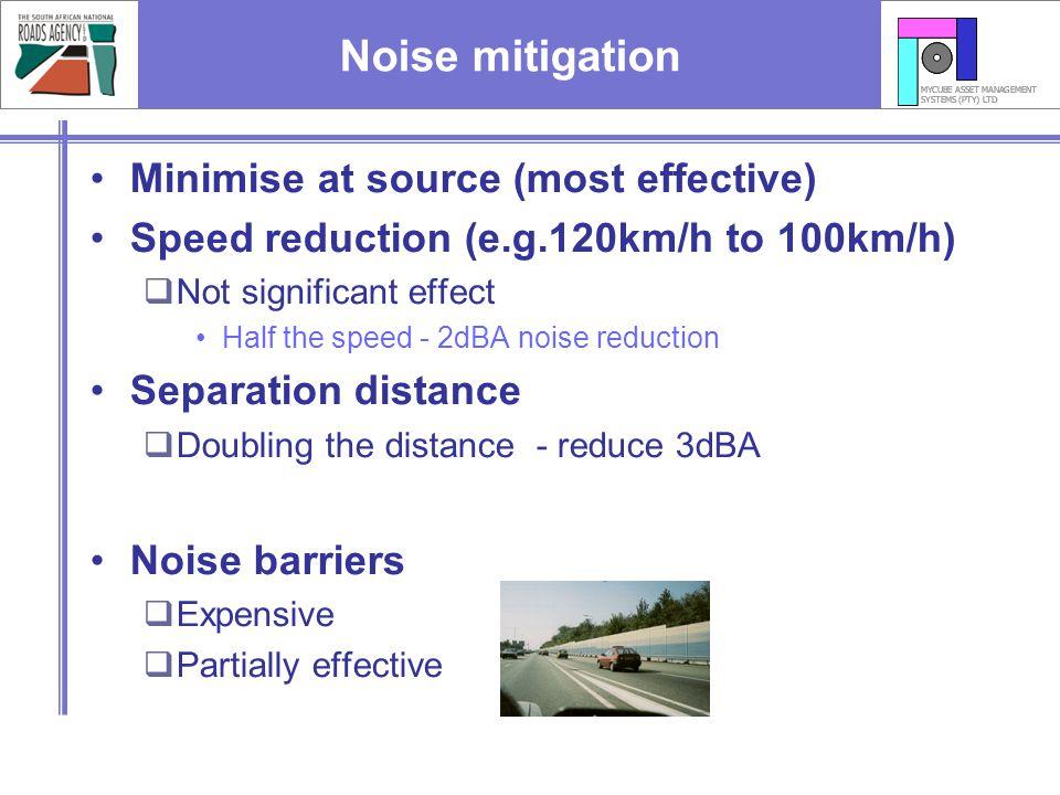 Noise mitigation Minimise at source (most effective)