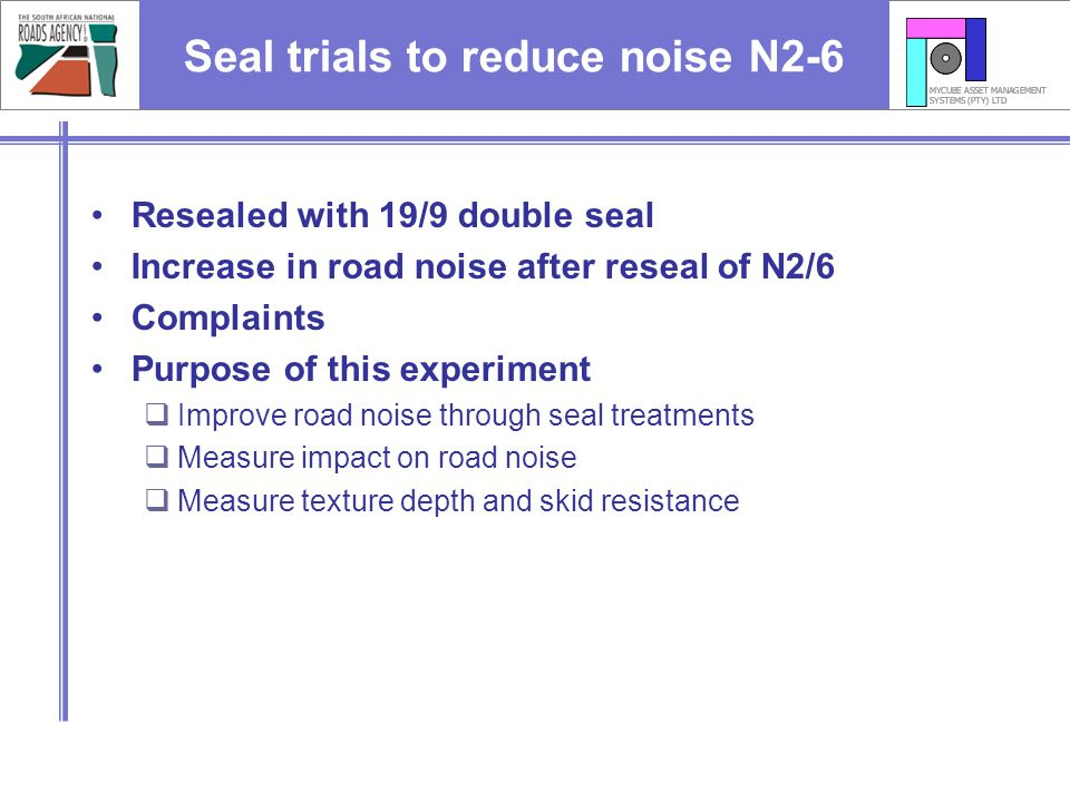 Seal trials to reduce noise N2-6