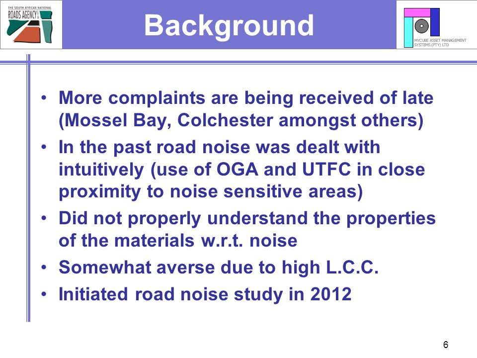 Background More complaints are being received of late (Mossel Bay, Colchester amongst others)