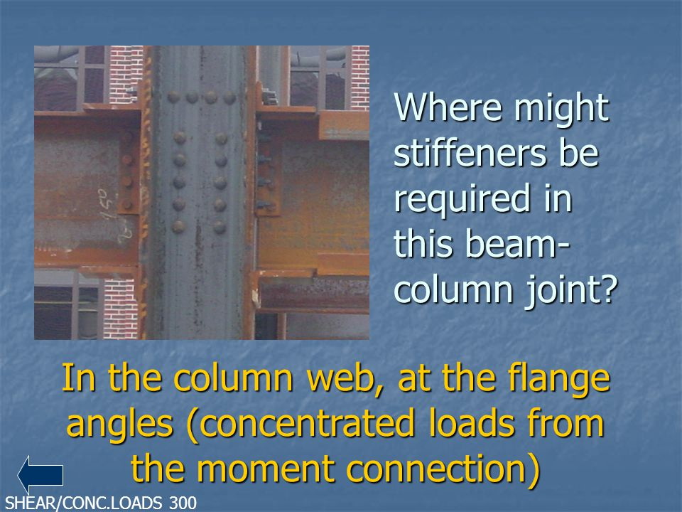 Where might stiffeners be required in this beam-column joint