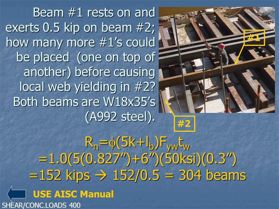 Beam #1 rests on and exerts 0