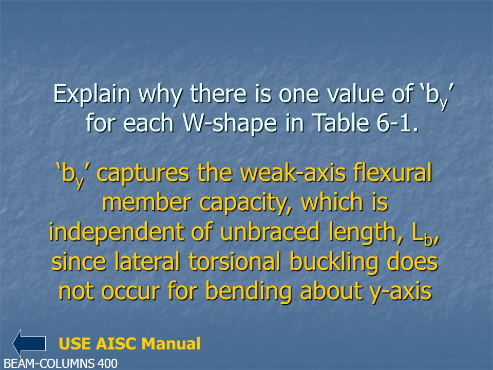Explain why there is one value of 'by' for each W-shape in Table 6-1.