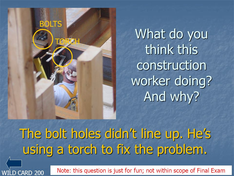 What do you think this construction worker doing And why